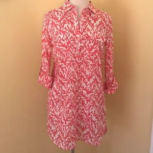 Lilly Pulitzer Cotton Tunic Top gold buttons - S